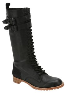 Matiko Leather Wedge Rocker Black Boots