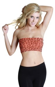 Nikibiki Leopard Print Bandeau Top Neon Orange