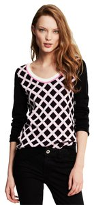 Banana Republic Grid Jacquard Black Pink Sweater