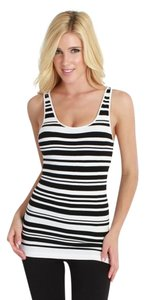 Nikibiki Tunic Length Striped Top Black and White