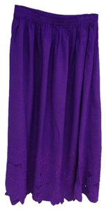 Blue Sky Cut-out Scalloped Rayon Machine Washable Skirt Deep purple