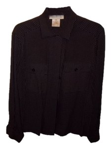 Jones New York Top charcoal grey with camel polka dots