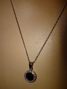 Sterling Silver Necklace Black Cubic Zirconia Halo Pendant (1-1/2 Ct. T.w.)