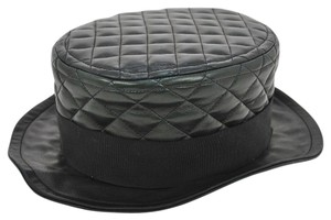 Chanel Authentic CHANEL CC Logos Quilted Hat Cap Leather Black #57 Vintage C04621