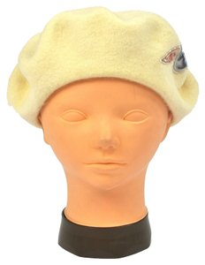 Chanel AUTHENTIC CHANEL CC LOGOS CAMELIA HAT BERET CREAM IVORY WOOL VINTAGE M00743a