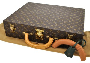 Louis Vuitton AUTHENTIC LOUIS VUITTON ATTACHE CASE HARD TRUNK HAND BAG MONOGRAM TAIGA A15144