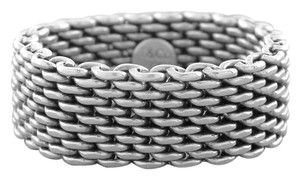 Tiffany & Co. AUTH TIFFANY & Co. STERLING SILVER WIDE MESH RING FLEXIBLE Sz 6.5 Metal Purity 925