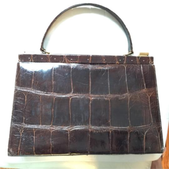 Real Crocodile Satchel in Brown