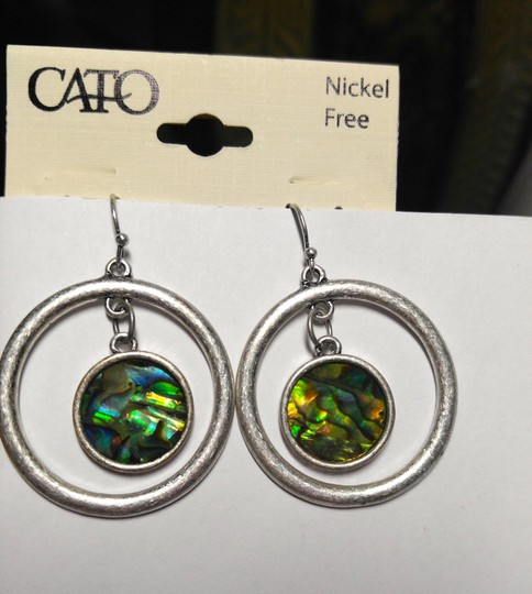 Cato New Abalone Shell Hoop Earrings Silver Tone J1746