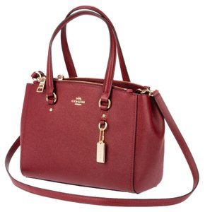 Coach Madison Mini Christie Saffiano Leather Carryall Hobo Tote Purse Crossbody Shoudler Satchel in Red Cherry