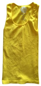 Sugarlips Seamless Scoop Neck Bodycon Ribbed Yellow Top lemon yellow