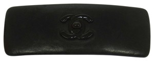 Chanel Authentic CHANEL Vintage CC Logos Hair Barrette Black Leather France B25712
