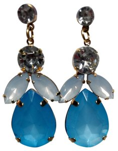 Other New Large Big Bib Earrings Blue Slver Gold J1747