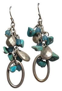 Other Turquoise Gemstone Dangle Earrings Silver Tone J1748 Summersale