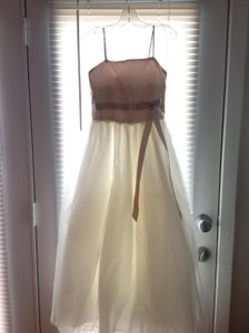 David's Bridal Ivory/Champagne Polyester Top with Tulle Bottom H1173 Modern Bridesmaid/Mob Dress Size 14 (L)