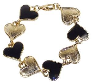 Other Fashion Jewelry Charm Bracelet - Black and Gold Hearts, Gift Box.
