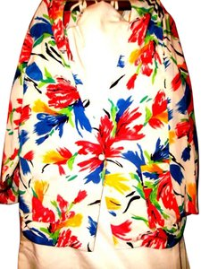Susan Graver Polyester Cardigan Floral Button Multicolor on White Blazer