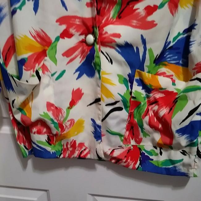 Susan Graver Polyester Cardigan Floral Button Multicolor on White Blazer Image 3