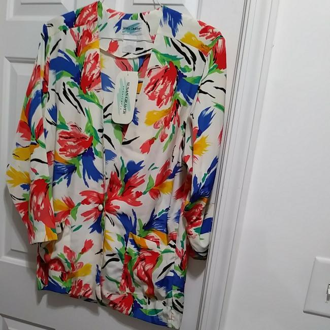 Susan Graver Polyester Cardigan Floral Button Multicolor on White Blazer Image 5
