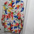 Susan Graver Polyester Cardigan Floral Button Multicolor on White Blazer Image 7
