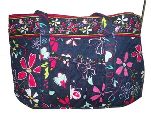 Quilted Cotton Tote in black/navy multi color print