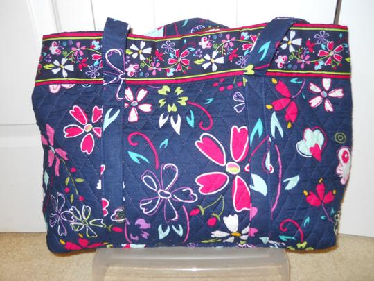 Other Quilted Cotton Tote in black/navy multi color print