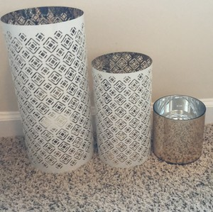 Gold And White Candle Holders