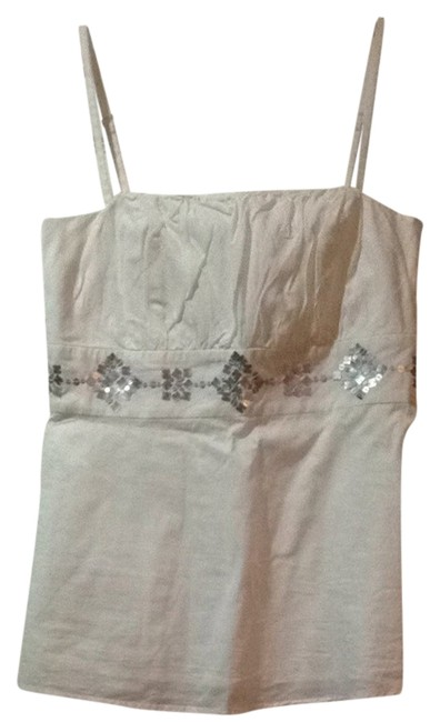 Ann Taylor LOFT Silver Accented Top White