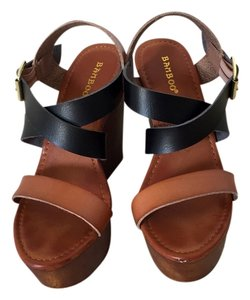 Bamboo Black and Brown Wedges