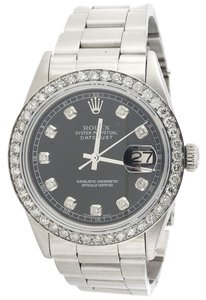 Rolex Mens 36mm Datejust Oyster Stainless Steel Black Diamond Watch 2.20 Ct.