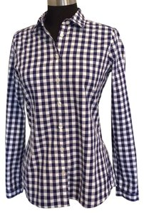 Burberry Brit Check Plaid Button Down Shirt Blue & White