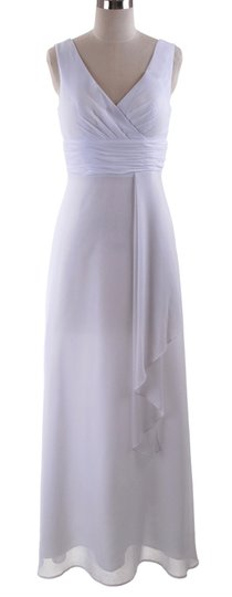 White Chiffon Long Draping V-neck Casual Dress Size 14 (L)