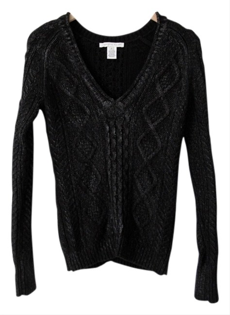 Preload https://item5.tradesy.com/images/charlotte-ronson-black-v-neck-angora-cable-knit-chunky-knit-waxed-blouse-size-4-s-10213969-0-2.jpg?width=400&height=650
