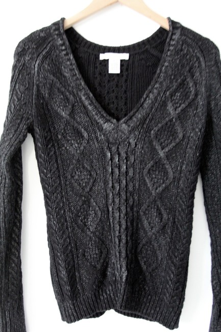 Charlotte Ronson V-neck Angora Cable Knit Chunky Knit Waxed Top Black