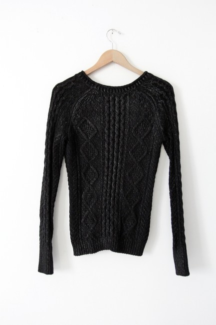 Charlotte Ronson V-neck Angora Cable Knit Chunky Knit Waxed Top Black Image 2