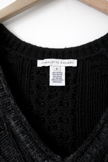 Charlotte Ronson V-neck Angora Cable Knit Chunky Knit Waxed Top Black Image 3