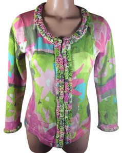 Sigrid Olsen Sweater 80% Silk Ruffles Hook Closure Print Cardigan