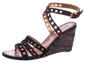 Prada Laser Cut Strappy Espadrille Metallic Brown, Black, Copper Wedges