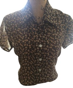 Jonathan Martin Flowered Fitted Cropped Top Black and Tan