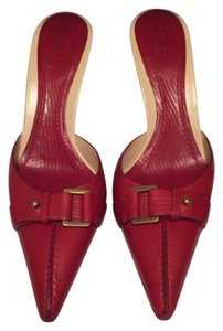 Gucci Red Stiletto Gold Buckle Detail Soft Leather Buckle Mules