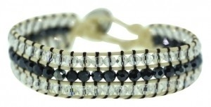 DGConnection 3-Row Clear and Dark Gray Crystal & Cream Trim Friendship Bracelet w Button Clasp