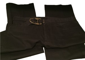 Gucci Gold Buckle Studded Gold Accents Leg Classy Dress Up Dress Down Versatile Like New Straight Pants Black