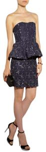 Alice + Olivia Sequin Peplum Navy Party Mesh Dress