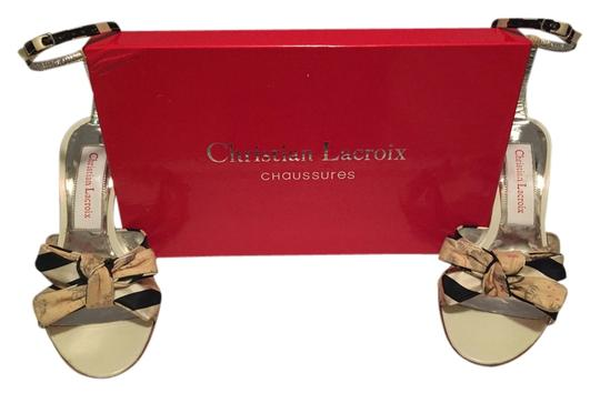 Christian Lacroix Striped Floral Stiletto Silver Navy Cream White Beige Ankle Strap Classy Unique Sexy Sophisticated Box Dust Bag Sandals Image 1