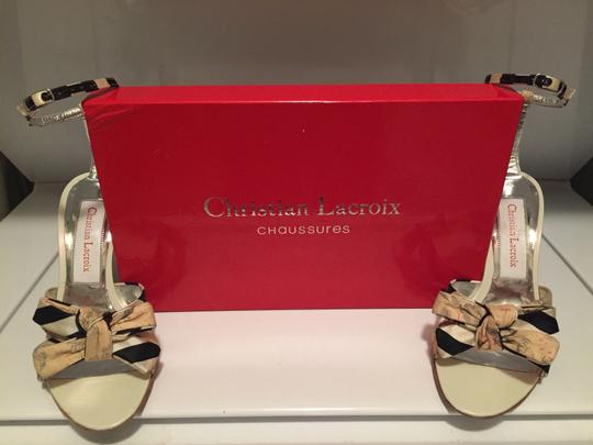 Christian Lacroix Striped Floral Stiletto Silver Navy Cream White Beige Ankle Strap Classy Unique Sexy Sophisticated Box Dust Bag Sandals Image 2