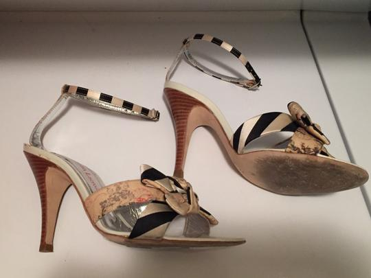 Christian Lacroix Striped Floral Stiletto Silver Navy Cream White Beige Ankle Strap Classy Unique Sexy Sophisticated Box Dust Bag Sandals Image 3