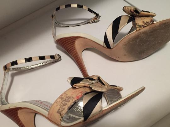 Christian Lacroix Striped Floral Stiletto Silver Navy Cream White Beige Ankle Strap Classy Unique Sexy Sophisticated Box Dust Bag Sandals Image 4