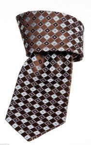 Ermenegildo Zegna Ermenegildo Zegna Brown And Light Blue Diamond Print Silk Men's Tie