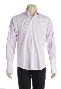 Boss By Hugo Boss Boss By Hugo Boss Purple And White Striped Men's Button Down Shirt (size 32/33)