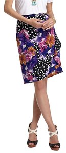 Yoana Baraschi Polkadot Floral Draped Anthropologie Skirt Black, White, Pink, Purple, Orange
